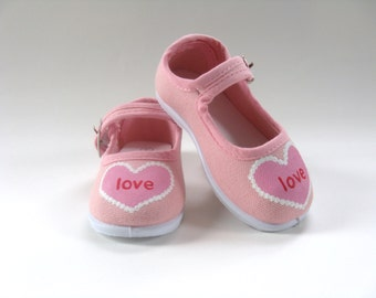 Girls Valentine Heart Shoes, Hand Painted Pink Mary Jane's, First Valentine's Outfit, Baby and Toddler