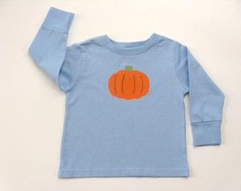 Kids Pumpkin T Shirt, Pumpkin Outfit, Pumpkin Theme, Thanksgiving Tee or Top, Baby and Toddler, Hand Painted, Autumn or Fall, Long Sleeve