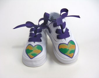 Girls Camouflage Shoes, Camo Sneakers, Millitary Mom or Dad Gift, Hand Painted for Babies and Toddlers