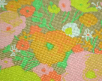 vintage 70s cotton print fabric, featuring great pastel floral design 1 yard, 4 available, priced PER YARD