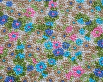 vintage 50s textured cotton fabric, featuring great small flower print, 1 yard, 2 available priced PER YARD