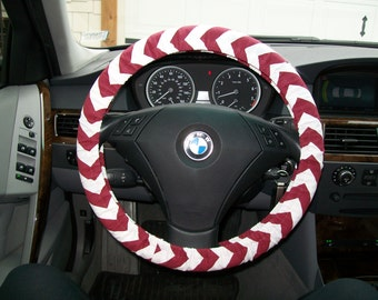 Maroon and White Chevron Steering Wheel Cover