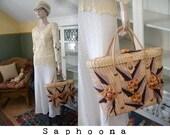 Vintage 50s 60s straw handbag beach bag picnic basket woven purse laptop bag tote festival tan beige neutral boho pinup glam movie star W/SH