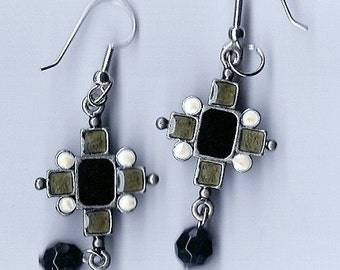 New - Black and silvertone laquer cross earrings