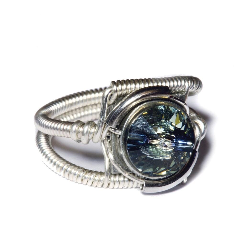 Limited Edition  Grey Steampunk Top Hat Single Ring Box And Black Diamond  Swarovski Crystal Ring