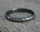 Sterling silver stacking ring - southwestern - oxidized or bright - simple band - vintage style