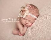 Evie Line - Romance - Cream Ivory Beige Tan Blush Pink - Vintage Style - Burlap Lace Headband - Girls Newborns Baby Infant