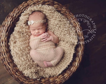 Tawny - Vintage Inspired Lace Flower Headband - Gold Cream Nude - Newborn Infant Baby Girl Toddler Adult