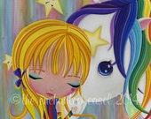 Art Print, Rainbow Brite, Girls Room, Whimsical, Girls Wall Art, 80s, Horse, Starlight, Nursery Art, Girls Wall Decor, Cute