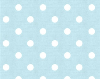 "SAMPLE SALE RUNNER 20""-40""  Polka Dot White on Mist Blue Wedding table runner clearance rpst"