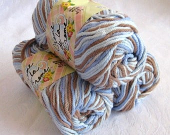 Creme de la creme Cotton Yarn, EARTH and SKY,  soft brown with blue, cream, worsted weight