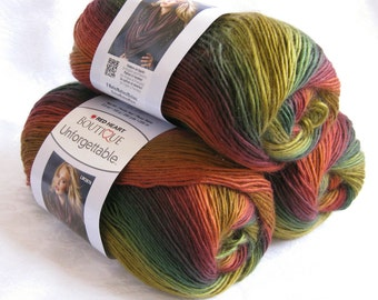 Red Heart Unforgettable yarn in POLO, brilliant shades of rust, wine, mustard, green, worsted weight roving yarn