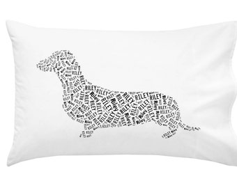 Personalized Dachshund Doxie Pillowcase Pillow Cover Dog Breed Home Decor Bed Cushion
