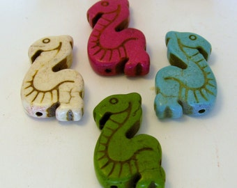 One Large Howlite Sea Serpent/ Dragon  Beads - Assorted Colors