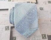 Mens Tie Gray and Light Blue Paisley Necktie