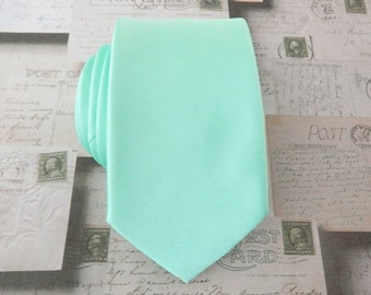 Mens Tie. Narrow Pastel Mint Green Mens Tie With Matching Pocket Square Option