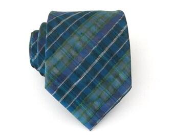 Mens Ties Necktie Green and Blue Stripes Mens Tie