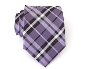 Mens Tie. Purple Lavender White Plaid Mens Necktie