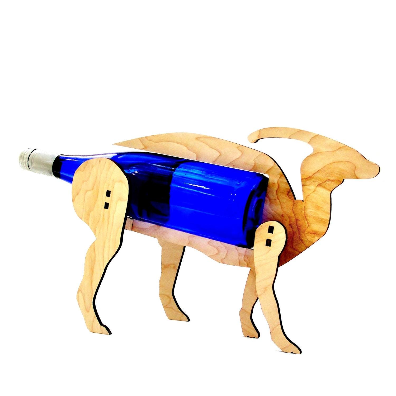 Wine o saur wooden dinosaur wine rack parasaur - Dinosaur wine holder ...