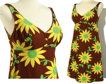 Vintage 60s Dress Mod Mini Daisy Flower Babydoll Sundress S XS