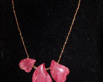 Rhodochrosite Hearts on Delicate Ruby Stone Chain w/ Magnetic Clasp