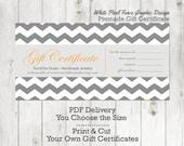 Premade Gift Certificate Chevron Design Customizable PDF Delivery