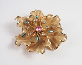 Flower Rhinestone Large Brooch Vintage 60s Jewelry