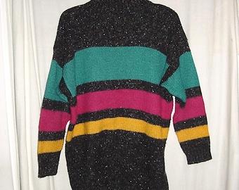 Vintage 80s Teal Fuchsia Gold Stripe Ladies Tunic Sweater sz L Pullover