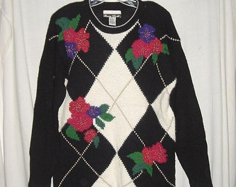 Vintage 80s Holiday Christmas Sweater Ladies Pullover Tunic L Argyle Black White