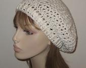 Cotton V-st Beret Dread Tam Crochet Hat in Off White