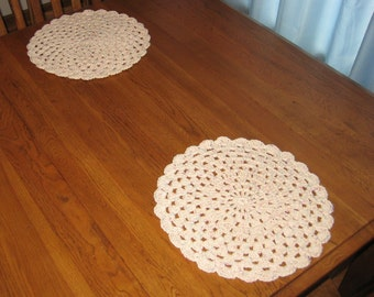 Crochet Cotton Place mats set of 2 in Off White with Flecks