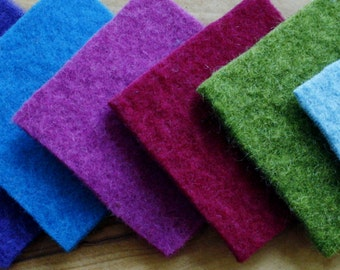 "9 Felt squares... 3"" x 3""          Made from recycled 100% woolly sweaters and coats."