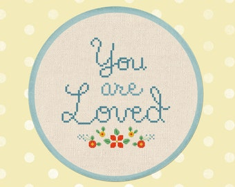 Flowery You are Loved. Text Quote Modern Simple Cute Counted Cross Stitch Pattern PDF File. Instant Download