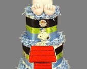 SNOOPY Diaper Cake PEANUTS Diaper Cake Unisex Boy Girl Snoopy Shower Centerpiece Charlie Brown Woodstock Cartoon Diaper Cake Snoopy Baby