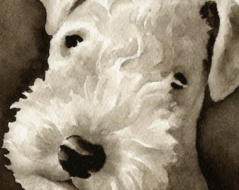 LAKELAND TERRIER Sepia Art Print by Watercolor Artist DJ Rogers