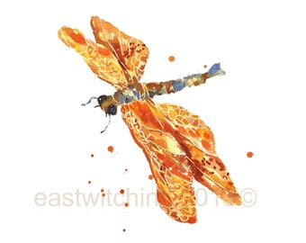 Dragonflies, nursery animal art, mothers day, Golden DRAGONFLY Print, dragonfly art