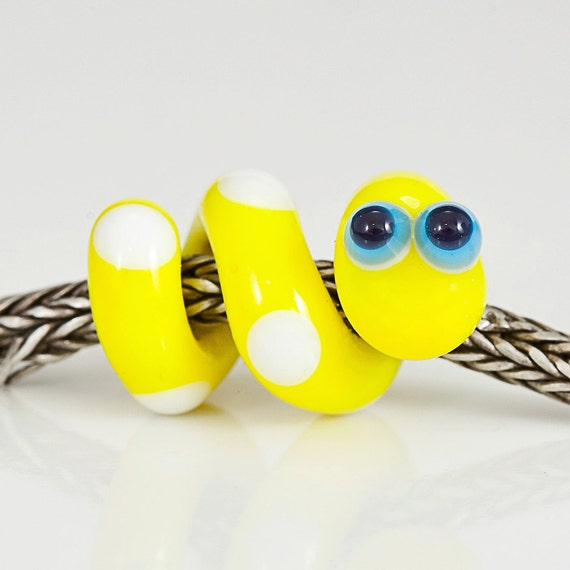Yellow White Snake Lampwork Large Hole Bead