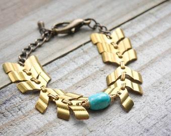 Chevron Bracelet, Vintage Chevron Chain