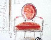 Chanel Bag Art Print of My Original Illustration Red Velvet Louis Chair