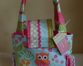 Small Girly Owl and Chevron Short Trip Diaper Bag