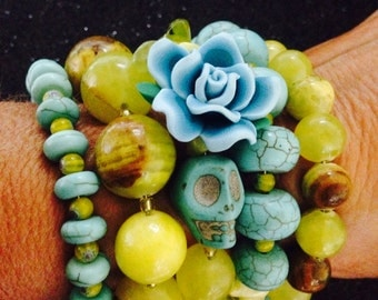 Classy Day of the Dead Lemon Jade and Turquoise Arm Candy Bracelet-Beautifu