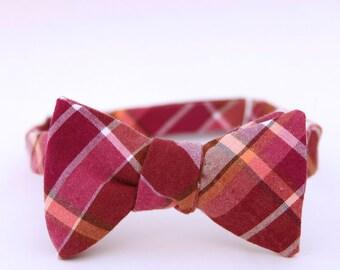 fuschia plaid freestyle bow tie