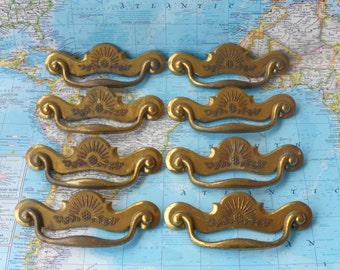 SALE! 8 vintage shiny brass metal curvy pull handles with flower motif