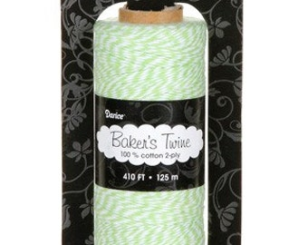 Baker's Twine LIME GREEN WHITE 410 Ft Cotton 2-ply Gift Wrapping Necklaces Scrapbooking