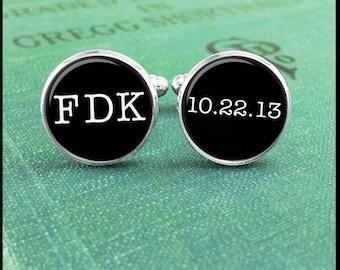 Monogram Cufflinks/ Personalized Cuff Links/ Wedding Date/ Initial Cufflinks/ Gift for Him/ Groom Gift/ Wedding Jewelry/ Custom Cufflink