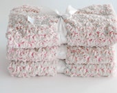 Baby Girl Pink Blanket Luxurious Frosted Rose Swirl Print