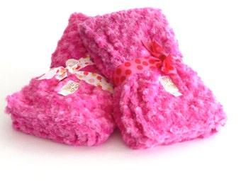 Baby Girl Blanket Fuchsia Rose Print, baby minky, Pink baby blanket, newborn baby blanket, baby shower girl gift, minky, baby girl blanket
