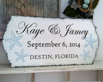 WEDDING SIGN, Beach Wedding Sign, Starfish, Mr. and Mrs. Wedding signs, Bride and Groom signs,  23.5 x 11.5