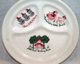 Walker China Nursery Rhyme Divided Plate Vintage Restaurant Ware