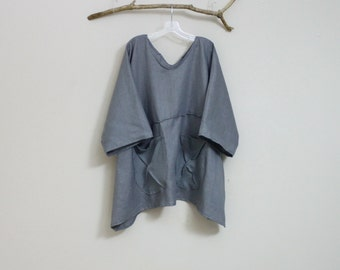 oversized eco linen top with big pockets made to order